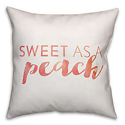 "Designs Direct ""Sweet as a Peach"" Square Throw Pillow in Orange/White"