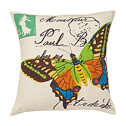 Amity Home Woodland Butterfly Throw Pillow in Ivory