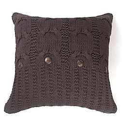 Amity Home Cable Knit Square Throw Pillow in Steel Grey