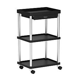 Mind Reader 3-Tier Rolling Coffee Cart in Black