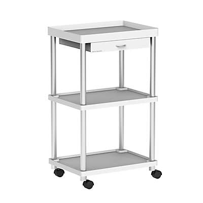 Mind Reader 3-Tier Rolling Coffee Cart in White