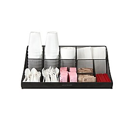 Mind Reader Pioneer 11-Compartment Coffee Condiment Organizer in Black