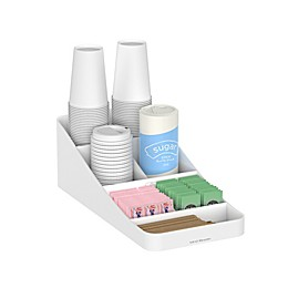 Mind Reader Trove 7-Compartment Coffee Condiment Organizer in White