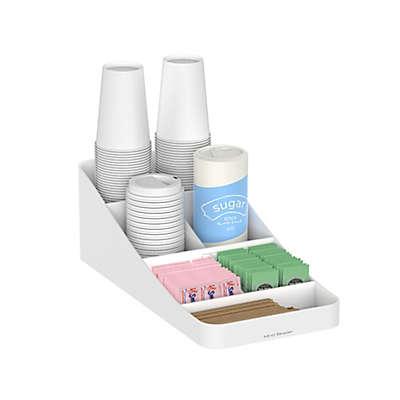 Mind Reader Trove 7-Compartment Coffee Condiment Organizer in White