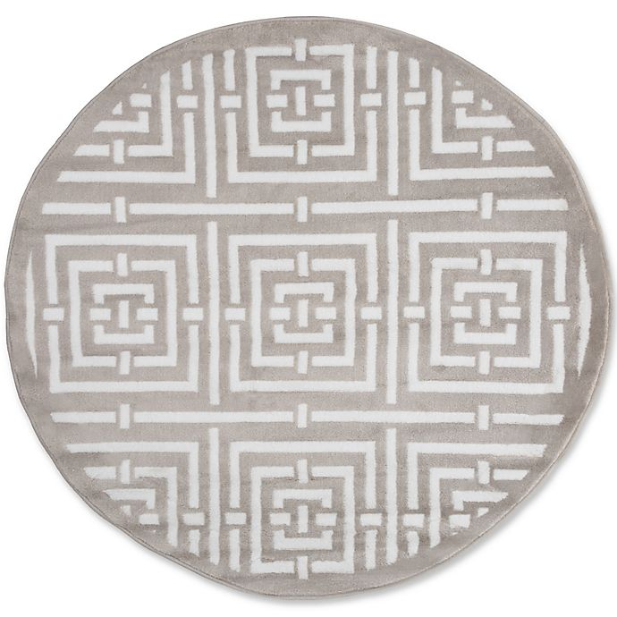 Nottingham Home Athens 5 Foot Round Area Rug In Grey White Bed