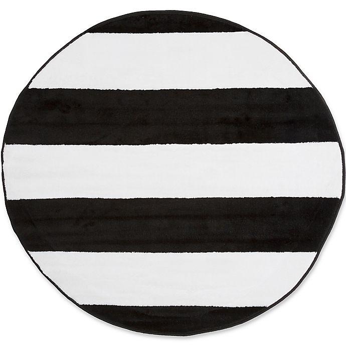 Nottingham Home Breton Stripe 5 Foot Round Area Rug In Black