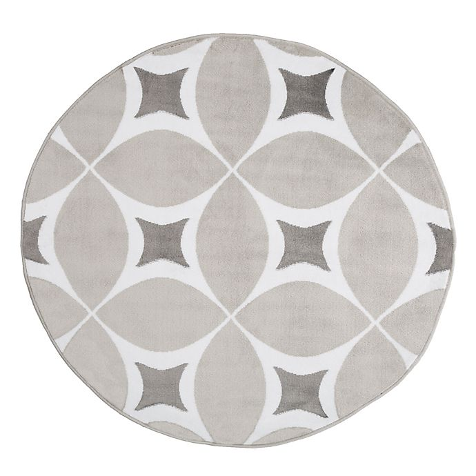 Alternate image 1 for Nottingham Home Geometric 5-Foot Round Area Rug in Grey/White