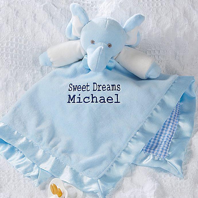 Alternate image 1 for Elephant Baby Blankie in Blue