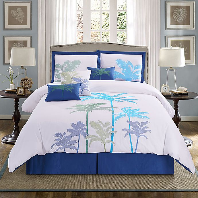 Alternate image 1 for Panama Jack® Breezy Palms 7-Piece Reversible Queen Comforter Set in Aqua