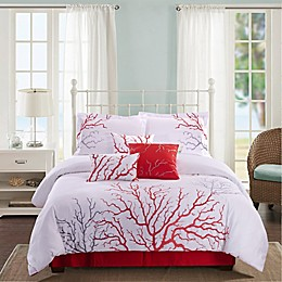 Panama Jack® Coral 7-Piece Reversible Comforter Set in Coral