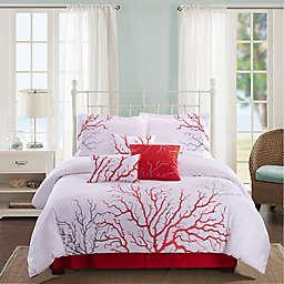 Panama Jack® Coral 7-Piece Reversible Comforter Set in Coral
