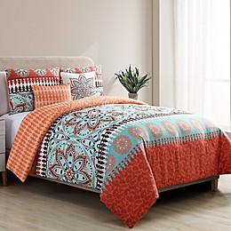 VCNY Home Ezra 5-Piece Reversible Comforter Set in Burnt Orange/Aqua