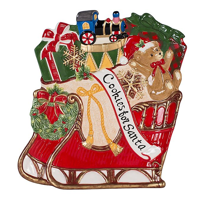 Fitz And Floyd Reagan White House Christmas Sleigh Cookie Platter