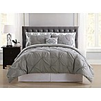 Truly Soft Pueblo Pleated 8-Piece Full Comforter Set in Grey