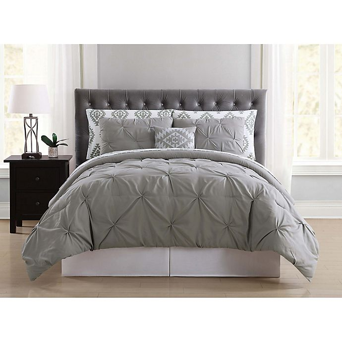 Alternate image 1 for Truly Soft Pueblo Pleated 6-Piece Twin XL Comforter Set in Grey