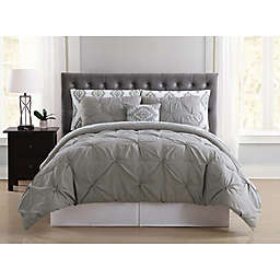 Truly Soft Pueblo Pleated 8-Piece Queen Comforter Set in Grey