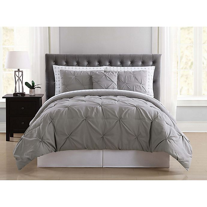 Alternate image 1 for Truly Soft Arrow Pleated 6-Piece Twin XL Comforter Set in Grey