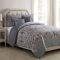 VCNY Home Amherst 4-Piece Reversible Twin XL Comforter Set in Grey/Blush