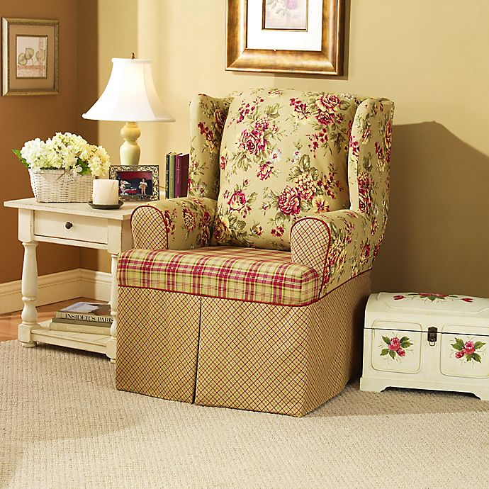 Alternate image 1 for Sure Fit® Lexington T-Cushion Wingback Chair Protector