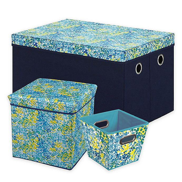 Prime Bin Trolley Trunk And Ottoman Storage Collection In Blue Dailytribune Chair Design For Home Dailytribuneorg
