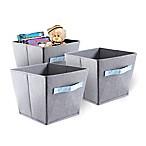 Bintopia Felt Storage Bins in Grey with Blue Handles (Set of 3)