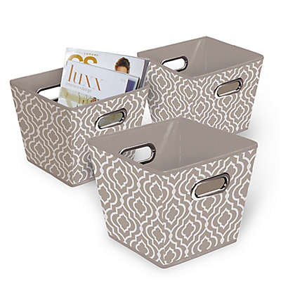 Collapsible Fabric Tapered Storage Bins in Tan/White (Set of 3)
