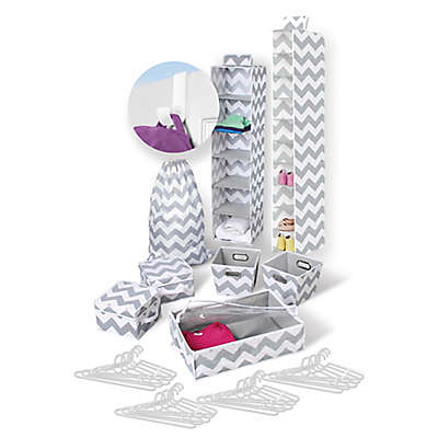 Back To College 30-Piece Storage Bundle Set in Grey/White