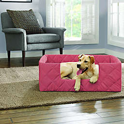 SUREFIT Deep Pile Portable Large Pet Bed in Coral