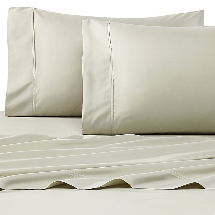 Alternate image 1 for Eucalyptus Origins™ 300-Thread-Count Tencel® Percale King Pillowcases in Sage (Set of 2)