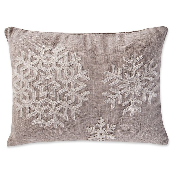 Alternate image 1 for Levtex Home Avery Snowflake Oblong Throw Pillow in Natural