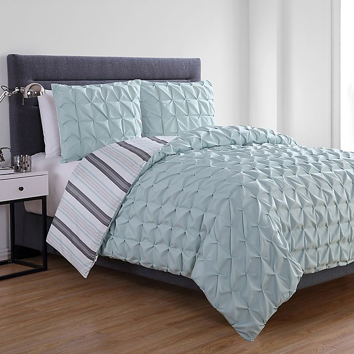Alternate image 1 for VCNY Home Brielle Reversible Full/Queen Duvet Cover Set in Aqua