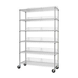 Trinity Heavy-Duty Wheeled 6-Shelf Wire Rack in Chrome