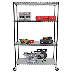 Trinity Heavy-Duty Wheeled 4-Shelf Wire Rack with Liners in Black