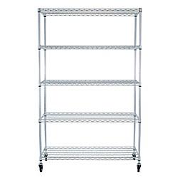 Trinity EcoStorage™ Wheeled 48-Inch 5-Shelf Wire Rack in Chrome