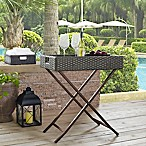 Crosley Palm Harbor Outdoor Wicker Butler Tray in Grey