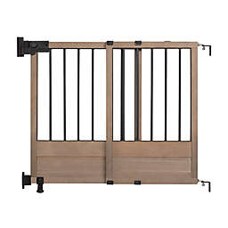HomeSafe Rustic Home Top of Stairs Gate in Dark Wood