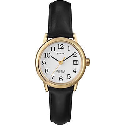 Timex® Easy Reader® Ladies' 25mm Watch in Goldtone Brass with Black Leather Strap