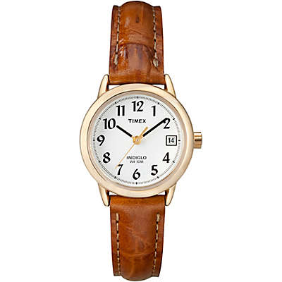 Timex® Easy Reader® Ladies' 25mm Watch in Goldtone Brass with Brown Crocodile Leather Strap
