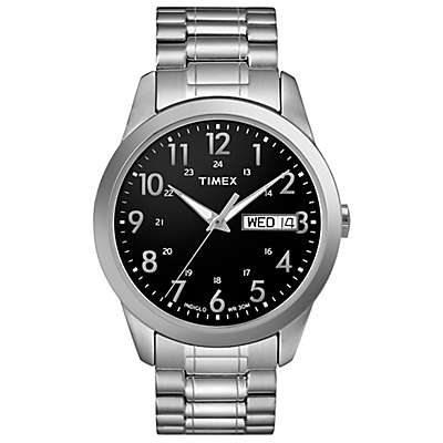 Timex® Men's 36mm South Street Sport Black Watch in Stainless Steel w/Expansion Band