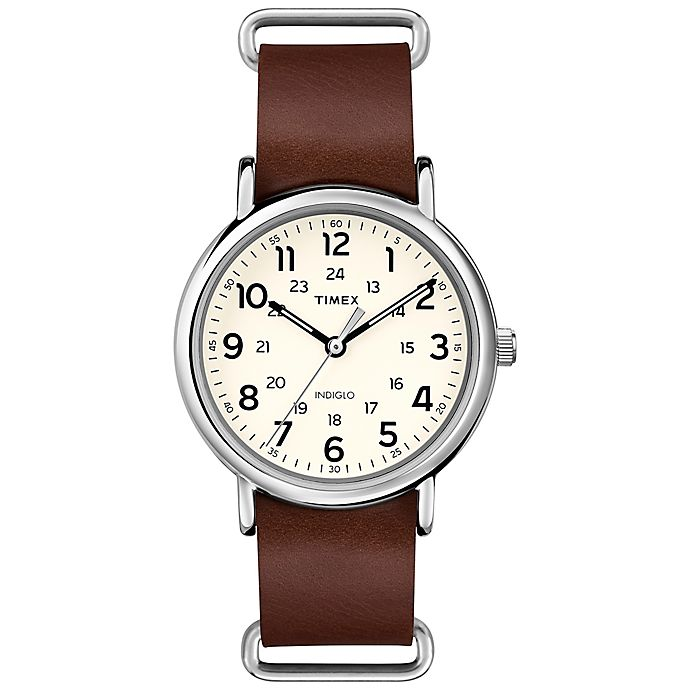52895cc0b Timex® Weekender Unisex 40mm Watch in Silver Brass with Brown Leather Strap