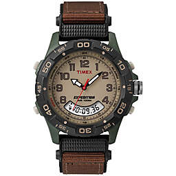 Timex® Expedition® Men's 39mm Combo Watch in Green Resin w/Brown Nylon Strap