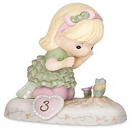 Precious Moments® Growing in Grace Age 3 Blonde Girl with Flowers Figurine