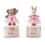 Mud Pie® 2-Piece Ceramic Tutu Bunny  First Curl  and Elephant  First Tooth  Keepsake Set