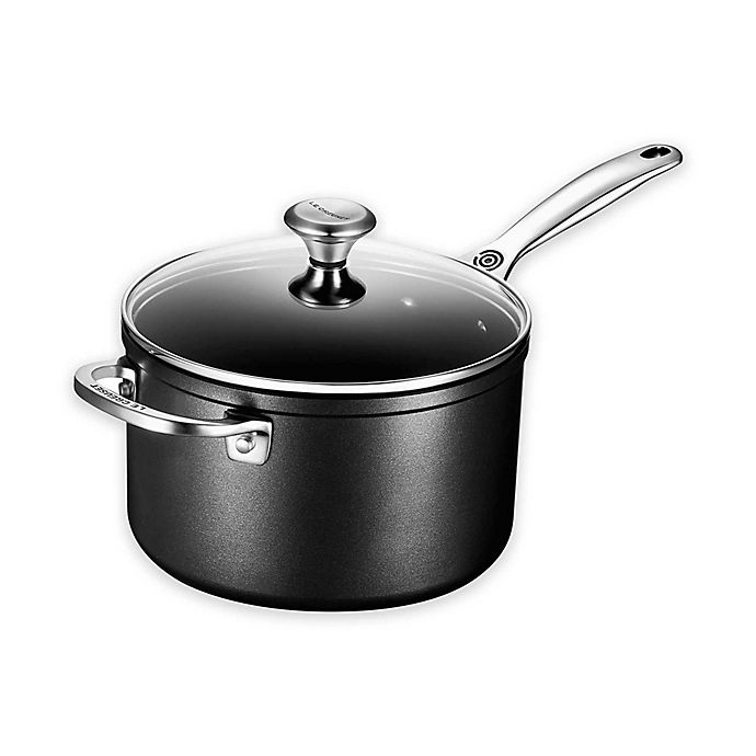 Alternate image 1 for Le Creuset® Toughened Nonstick Saucepan with Glass Lid and Helper Handle