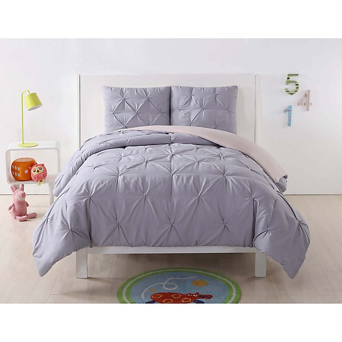 Alternate image 1 for Laura Hart Kids Pleated Twin XL Comforter Set in Lavender/Blush