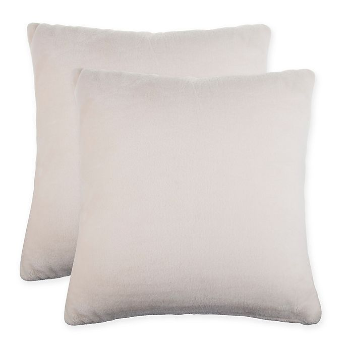 Solid Faux Fur Square Throw Pillow Set Of 2 Bed Bath