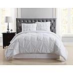 Truly Soft Pleated King Duvet Cover Set in White