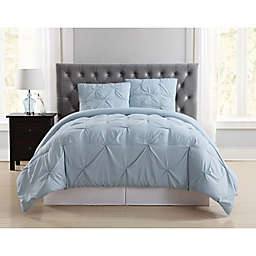 Truly Soft Pleated 3-Piece Full/Queen Comforter Set in Light Blue
