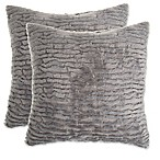 Waterfall Faux Fur Pillow in Grey (Set of 2)