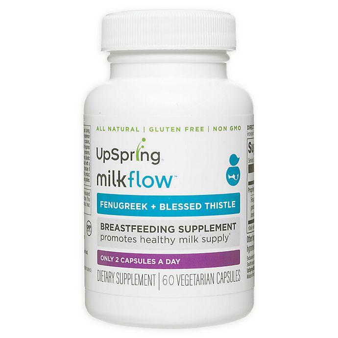 Alternate image 1 for UpSpring® Milkflow® 60-Count Fenugreek and Blessed Thistle Breastfeeding Supplement Capsules